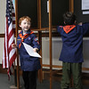 T. J. Ballantine, left, and Gabriele Ciota, right, of Cub Scout troop 50 of Nahant, voting at the mock election in Nahant Town Hall today. Photo by Owen O'Rourke