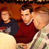 Lynn, Old Tyme Italian Cuisine.  New politicians interviewed by Gayla.<br /> Jared Nicholson discusses a point with  Brian LaPierre to the lft. as Lorraine Gately and Jay Walsh listen.