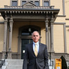 Saugus Town Manager Andrew Bisignani, who will be leaving his position to became the Town Manager in Nahant, loves the architecture of Saugus Town Hall and is proud to have insured it was maintained during his tenure. Photo by Owen O'Rourke
