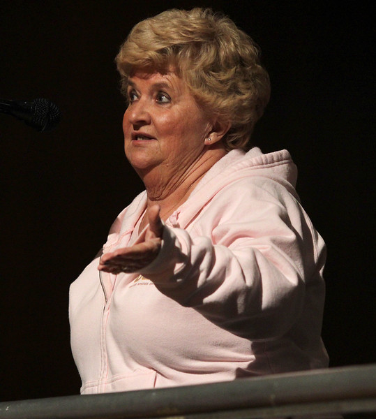 Carol Dullea, a retired nurse from Union, 52 years, speaks in favor of the program to close Union Hospital at the public meetin at Lynn City Hall. Photo by Owen O'Rourke