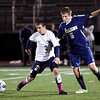 St. Mary's Dan Hennessey (2) and Archbishop Williams' Jack McCarry (5) vie for the ball during their game at Manning Field on Thursday, October 11. Item Photo / Angela Owens.