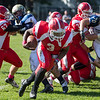 Saugus High School running back Marvens Moise runs with the ball during a game against Winthrop High School in Saugus on Saturday, Oct. 15, 2016. (Photo by Scott Eisen/The Item)