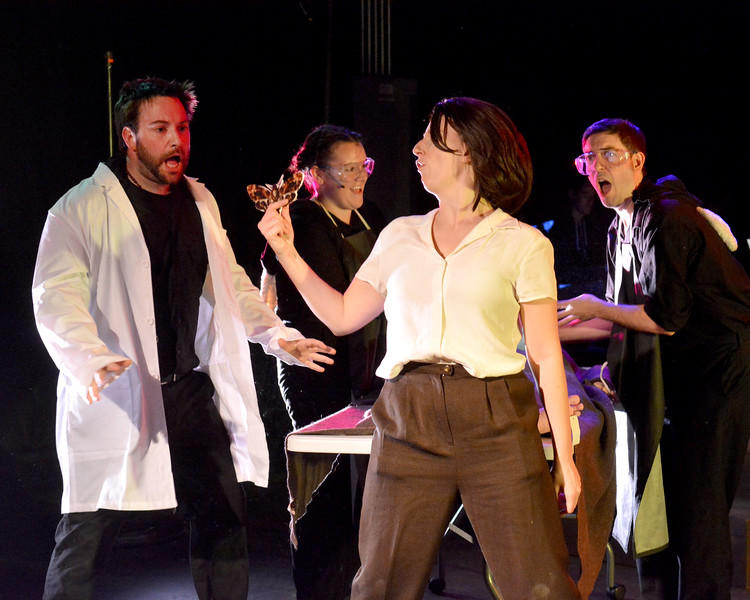 """Lynn. Lynn Arts Black Box. Dress rehearsal for """"Silence! The Musical"""".  Clarice Starling played by Lisa McDonough finds the moth during the autopsy."""