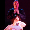 """Lynn. Lynn Arts Black Box. Dress rehearsal for """"Silence! The Musical"""". Chas Kircher as Hannibal Lecter looms over Clarice Starling played by Lisa McDonough."""