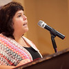 Karynn Needel, human resources director at the Daily Item, speaks at the annual North of Boston Businesswomen of the Year awards at the Holiday Inn in Peabody on Wednesday, October 23. Item Photo / Angela Owens.
