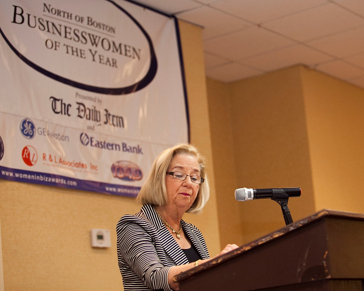 Phyllis Sagan speaks at the annual North of Boston Businesswomen of the Year awards at the Holiday Inn in Peabody on Wednesday, October 23. Item Photo / Angela Owens.