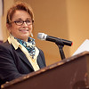 Cathy Anderson from North Shore Community College speaks at the annual North of Boston Businesswomen of the Year awards at the Holiday Inn in Peabody on Wednesday, October 23. Item Photo / Angela Owens.