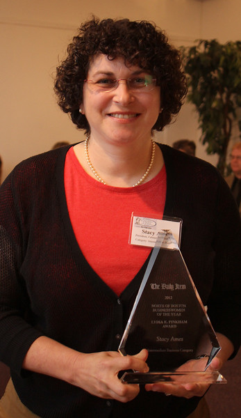Stacy Ames, Falmer Thermal Spray, Salem,  won the 12th Annual North of Boston Business Woman of the Year in the Intermediate Business category at a ceremony held at the Nahant Country Club on October 25. Photo by Owen O'Rourke