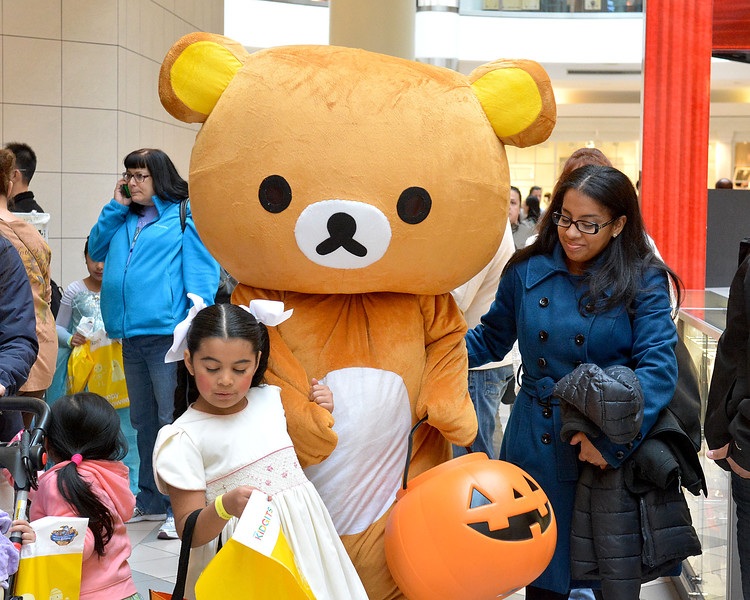 Saugus, Square One Mall. Halloween Boo Bash.  Chelsea residents visit the Mall and trick or treat from store to store. Patricia Orellana is the Teddy Bear, Rosalia Hernandez, is the doll.   Alicia Orellana is on the right.