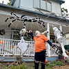 Lynn, 131 Woodlawn Street. Larry Lawless and his Halloween decorations.  Larry entangled in a web of his own making.