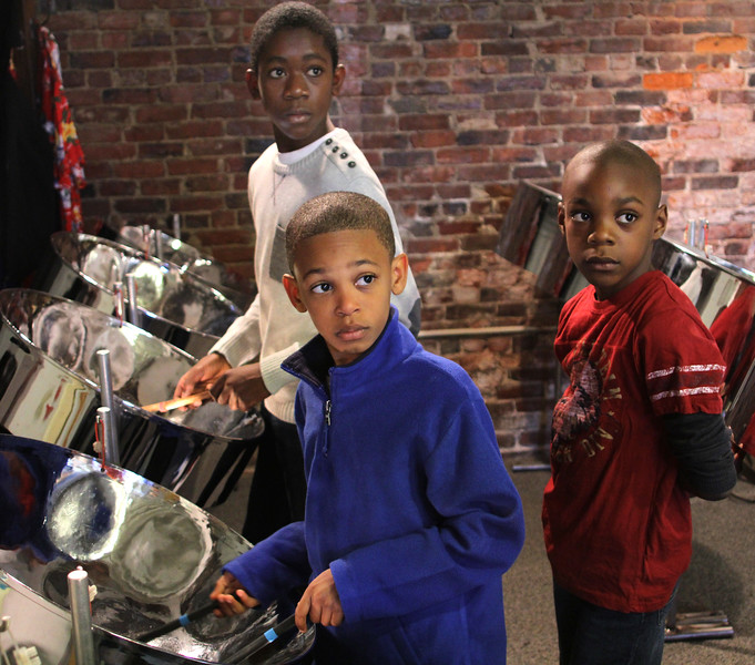 Donavan Payne, Justin Petty Jr. and Omarion Dor, right, at the open house and workshop for the Youth Steel Orchestra on Saturday at LynnArts. Payne and Petty Jr. are veteran musicans and Dor came by to check things out. Anyone interested in joining call Muriel Clement at 617-529-8686 or e-mail her at: muriel.clement59@gmail.com