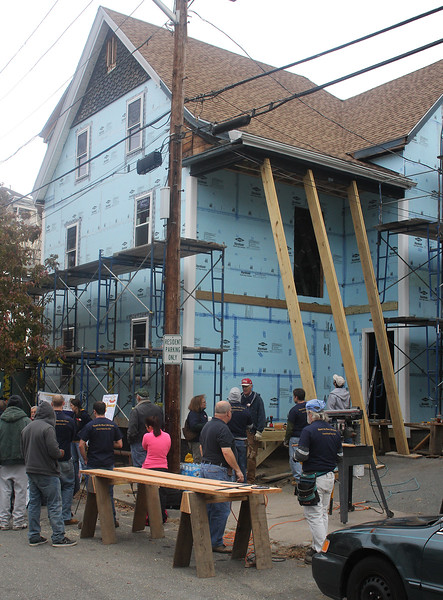Six Grover Street in Lynn was the site of a Habitat for Humanity project on Saturday. Photo by Owen O'Rourke
