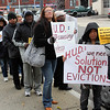 Tenants and anti-foreclosure advocates protest ouside of Housing Court in Lynn today. Photo by Owen O'Rourke