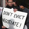 Darick Thin of Lynn participates in the anti-eviction protest outside of housing Court in Lynn today. Mr. Thi and his family are facing eviction soon. Photo by Owen O'Rourke