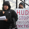 Glenda Rodriguez of Lynn speaks at the anti-eviction protest held outside of Housing Court in Lynn today. Glenda is facing eviction. Photo by Owen O'Rourke