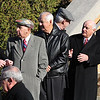 Some of the people who came to pay their respects at the funeral for Antonio Marino at the Holy Family Church in Lynn today included former Lynn Mayor Edward Clancy, second from the left. Photo by Owen O'Rourke