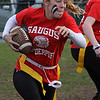 Haley Decristoforo runs the ball during the powder puff football game at Saugus High School on Wednesday, November 21. Photo by Owen O'Rourke