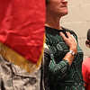 Linda Ambard, the community support coordinator at Hanscome Field in Bedford was one of three special guests at the Veterans Day assembly at Breed Middle School in Lynn today. Photo by Owen O'Rourke