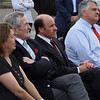 Mayor Judith Flanagan Kennedy, Bill Marsden, Arthur DeMoulas, Charlie Patsios, and James Marsh in the front row at the ceremony to announce the state grant for infrastructure improvements related to Market Basket in Lynn. Photo by Owen O'Rourke