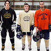 St. Mary's boys hockey captains, from left, Connor Parent, Ryan Madden, and Andrew Markham pose for a photo at Connery Rink on Monday, December 10. Item Photo / Angela Owens.