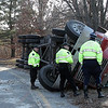Peabody Mass. Dec.14 2016  rollover. State Police looking over the trailer.