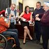 Lynn, City Hall, Mayor's Office.  Promotion for Celebrity Bartenders Night which will raise money for the Item Santa.  Lft to rt: Patrick Cogan, Lynn, John Pace, Lynn, Mary Chalmers Fountain, Charlie Gaeta, David Solimine, Sr.