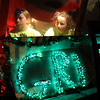 Shea Kidney, left, and Jamie Kidney in the Grinch float in the Nahant Christmas parade on Saturday. Photo by Owen O'Rourke