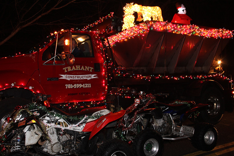 Billy Trahant from Lynn with one of the many trucks he had in the Nahant Christmas parade on Saturday. Photo by Owen O'Rourke