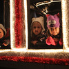 From left to right: Styles Parrott, Madison Tyrrell, and Piper Robson in the Polar Express float in the Christmas parade in Nahant on Saturday. photo by Owen O'Rourke