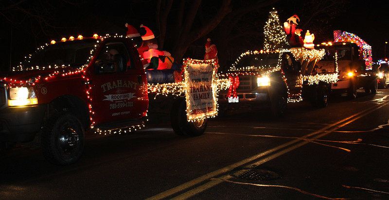 The Trahant family from Lynn had a bunch of trucks in the Nahant Christmas parade on Saturday. Photo by Owen O'Rourke