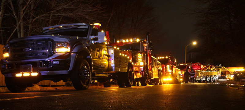 G/J Towing had a large contingent in the Nahant Christmas parade on Saturday. Photo by Owen O'Rourke