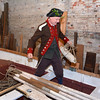 Captain of the Glover Regiment, Seamus Daly, Marblehead, prepares the longboat that will be used for a reenactment of the crossing of the Delaware on Christmas night in 1776. It occurs this coming weekend.