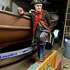 Captain of the Glover Regiment, Seamus Daly, Marblehead, talks about the coming reenactment of the crossing of the Delaware on Christmas night, 1776.  They will use this longboat.  It will happen in Marblehead Harbor this coming weekend.