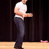 """Paul Korchari, a science teacher at Swampscott High School, dances to """"Man I Feel Like a Woman"""" by Shania Twain at the Swampscott High School """"Dancing with the Staff"""" event on Thursday, Feb. 9. Item Photo / Angela Owens."""