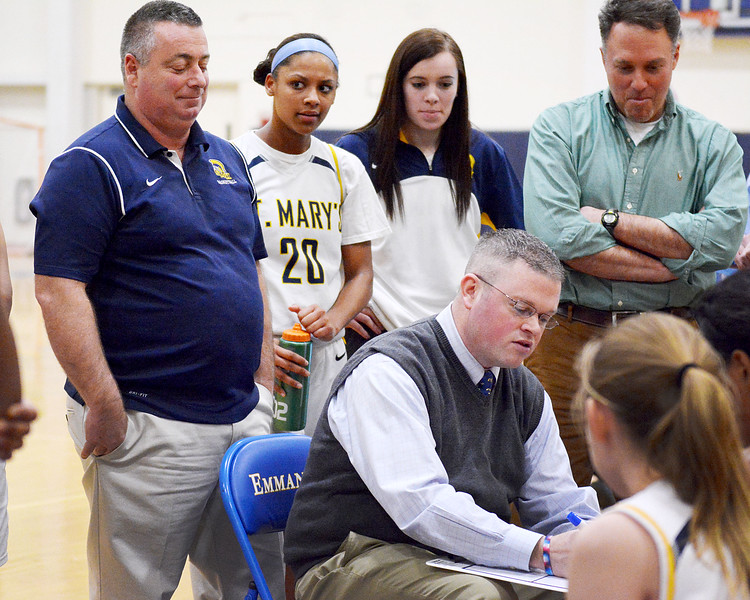 Boston, Emmerson College. St. Mary's vs Bridgewater-Rynham.<br /> Coach Jeff Newhall with team.