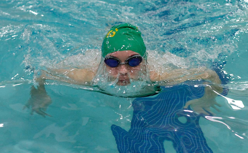 Ram's Courtney Braswell surfaces through an air bubble in breaststroke