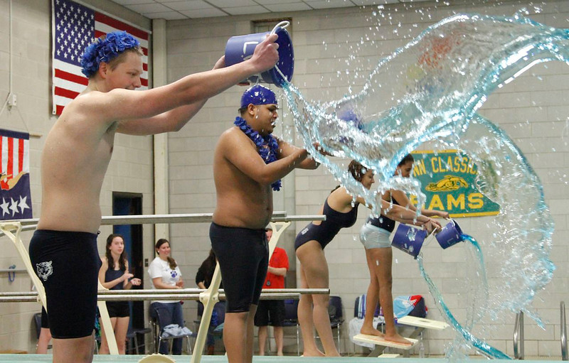 Tech's Jake Kennedy and Antonio Morales add their colors to the pool
