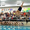 Tech diver Steven Paz spins in front of the large crowd