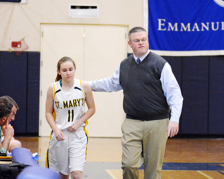 Boston, Emmerson College. St. Mary's vs Bridgewater-Rynham.<br /> Coach Jeff Newhall with Elizabeth Weisse.