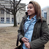 Shyanne Wolfe, 14, gives her opinion on the recent fight and the subsequent suspensions of students who watched and recorded it, at Lynn English High School on Monday, February 27. Wolfe, whose brother posted a video of the fight, said she was suspended for three days. Item Photo / Angela Owens.
