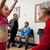 Wiliaris Baez, 7, meets Elizabeth Warren at Girls Inc. in Lynn on Monday, February 27. Item Photo / Angela Owens.