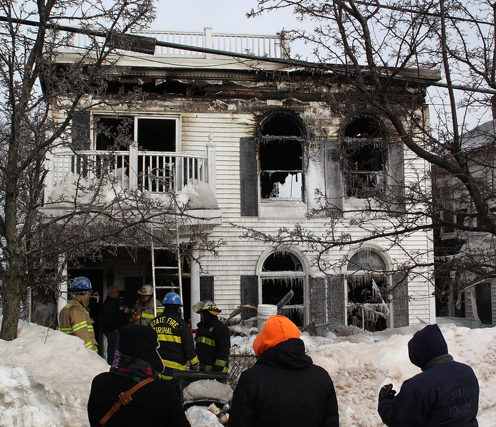 Dennis Toomey died in this three alarm fire at 79 Resevoir Ave. in Revere today.Photo by Owen O'Rourke