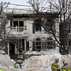 A three alarm fire at this house at 79 Resevoir Ave. in Revere today killed Dennis Toomey. Everyone else iln the house escaped.  Photo by Owen O'Rourke