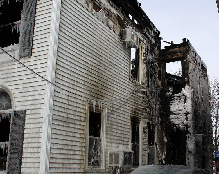 The right side as seen from the street of the house at 79 Resevoir Ave. in Revere, the scene of a 3 alarm fire that killed Dennis Toomey today. Photo by Owen O'Rourke