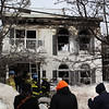 One elderly man died in this three alarm fire at 79 Resevoir Ave. in Revere today.Photo by Owen O'Rourke