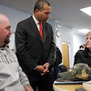 Gov Deval Patrick speaks about joblessness with Peggy Heffernan of Lynn, right,a nd Joseph Stygles, a veteran from Wilmington, at the North Shore Career Center on Union St Monday January 11, 2010. Item Photo/ Reba M. Saldanha