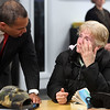 Gov Deval Patrick speaks about joblessness with Peggy Heffernan of Lynn at the North Shore Career Center on Union St Monday January 11, 2010. Item Photo/ Reba M. Saldanha