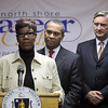 North Shore Career Center customer Elizabeth Fortes speaks about her sucess with the center as Gov Deval Patrick and Congressman John Tierney look on at their Unio St facility Monday January 11, 2010. Item Photo/ Reba M. Saldanha