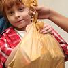 Myles Manalaysay width his food bag.
