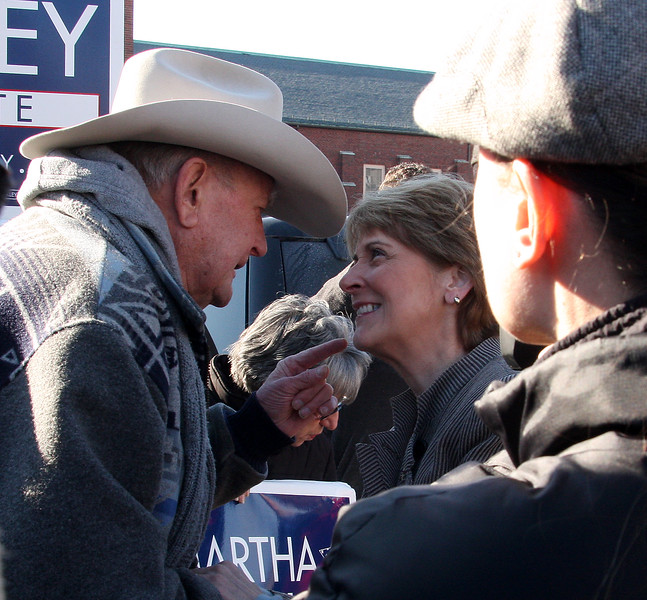 Martha Coakley greeting supporters in the parking lot of Brother's Deli on Market Street in Lynn on Saturday.